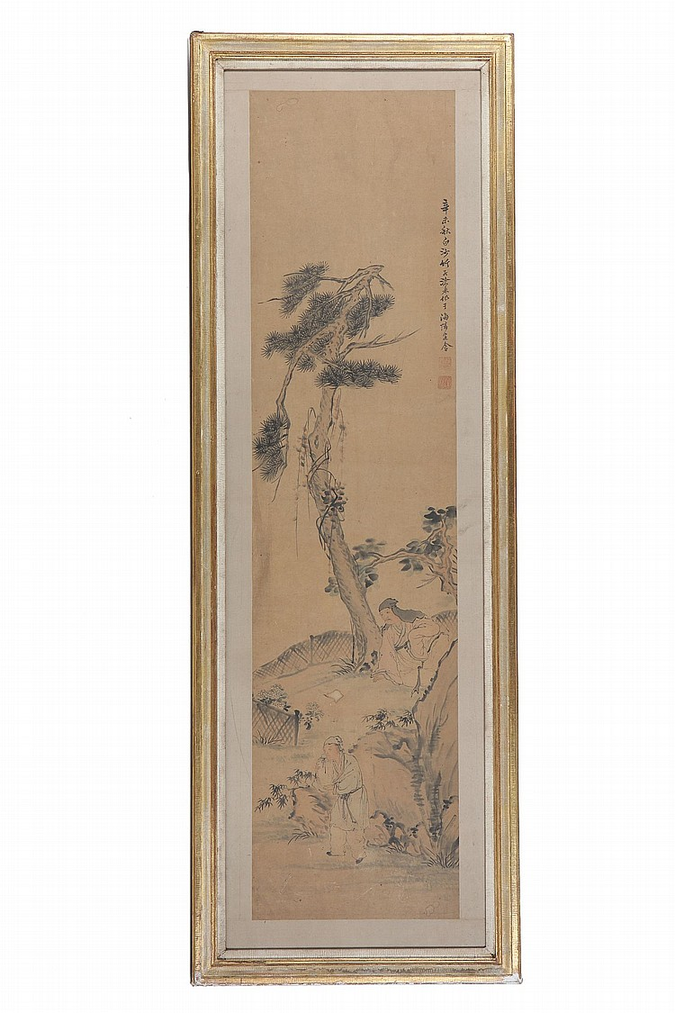 XU LIN (1879 – 1928).   Ink on paper, framed and glazed, 135 x 47cm.   Provenance: Acquired from John Sparks.   ??(1879 – 1928)   ????????????××?????