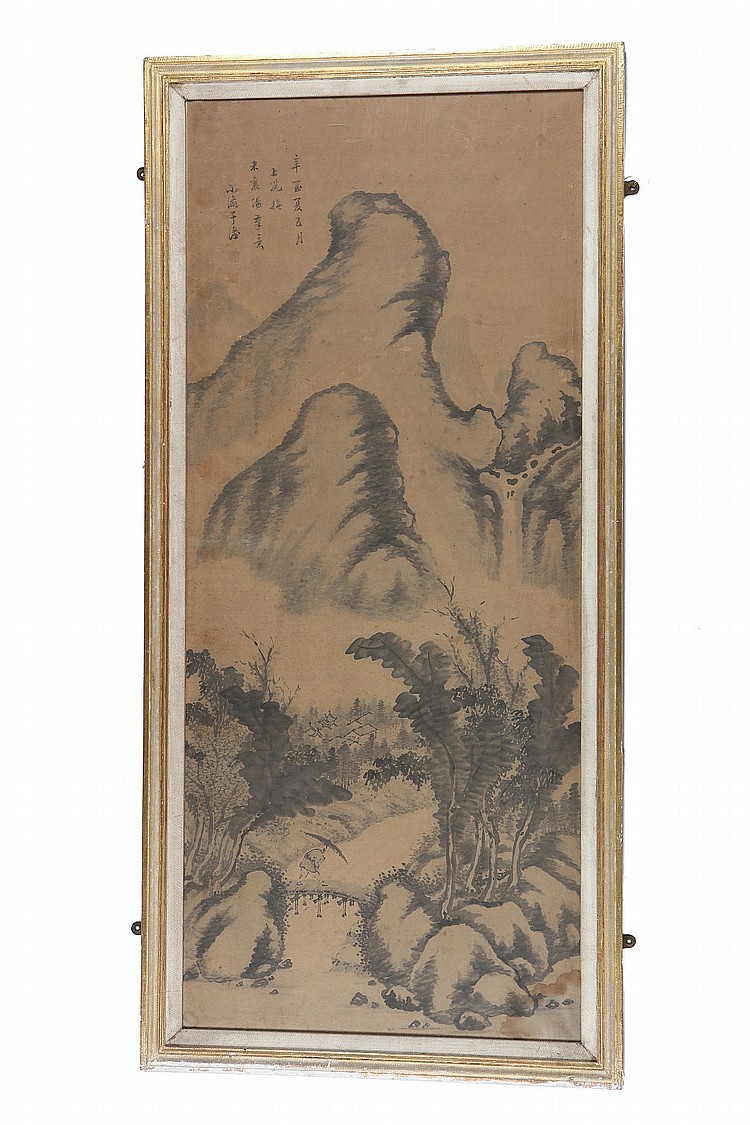 CHINESE SCHOOL. Ink on paper, framed and glazed, 146 x 69cm. Provenance: Acquired from John Sparks. ??? ??? ???????? ??*  ????? ????(?) ???????????(?)???