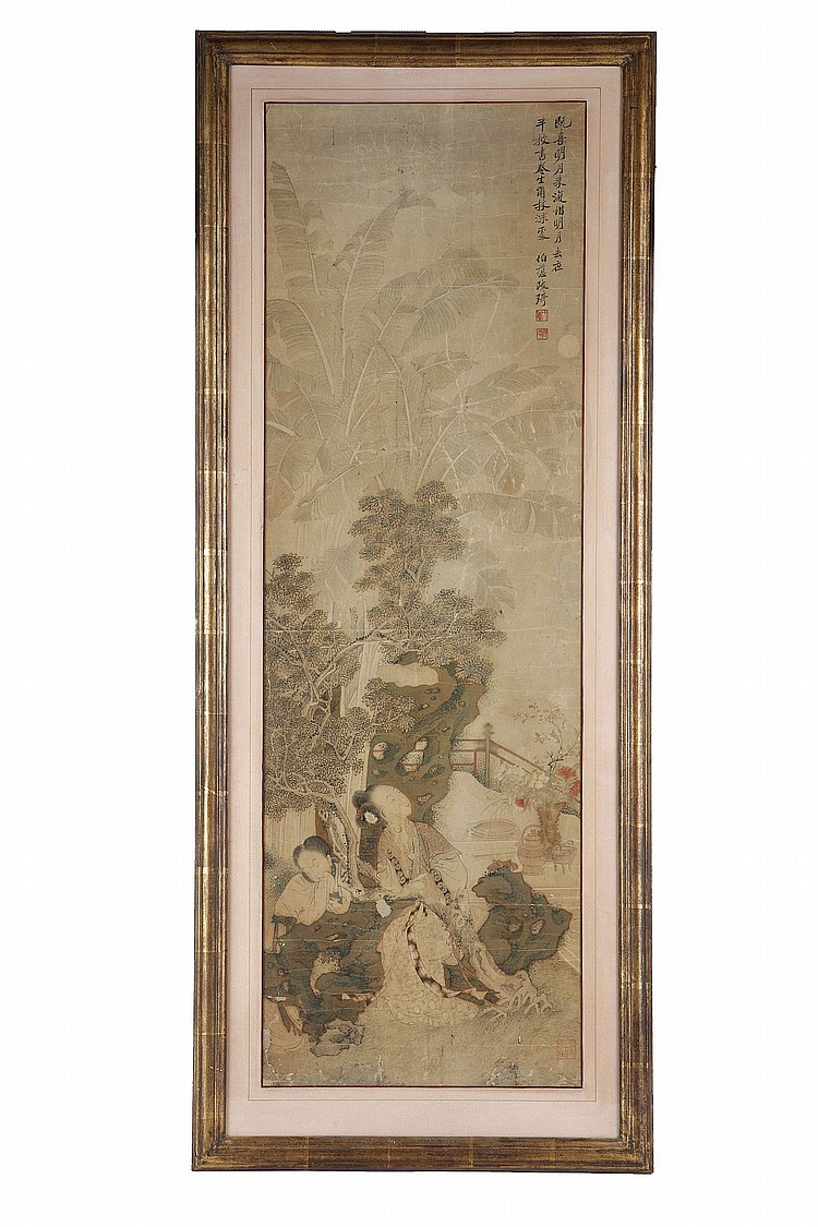 ATTRIBUTED TO GAI QI (1774-1829).   Beauties in a garden, ink and colour on paper, framed and glazed, 105x 34cm.   Provenance: Guo Baicang (1815-1890) Collection [seal mark]; John Sparks, 9th February 1951; John Marriott (1921-2007) and Count R. L. Sangorski (1940-2014) Collection.   ??(1774-1829)   ?????    ???? ??    ????????­?????????????????????    ???????????????????????    ?????????