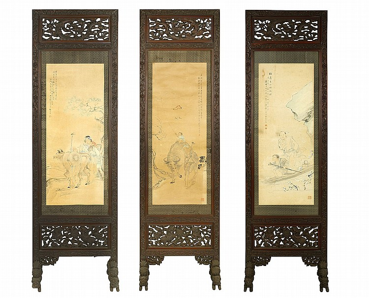CAI HUA (1847 – 1913), QIAN HUI'AN (1833 – 1911) AND CHEN ZHAOHAN (1855 – 1941). A set of three rectangular free standing carved wood screens, the top panel carved and pierced with dragons, bordered with incised patterns of squirrels with grapes, each supported on four feet, carved as Buddhist lion dogs, one side of each inset with a figurative painting by either Cai Hua (1847 – 1913), or his students Qian Hui'an (1833 – 1911) and Chen Zhaohan (1855 – 1941), the reverse with a calligraphic panel with quotes from the Si Yong Tie or Yiguo Zi Chidu, 195cm H. (3) ????