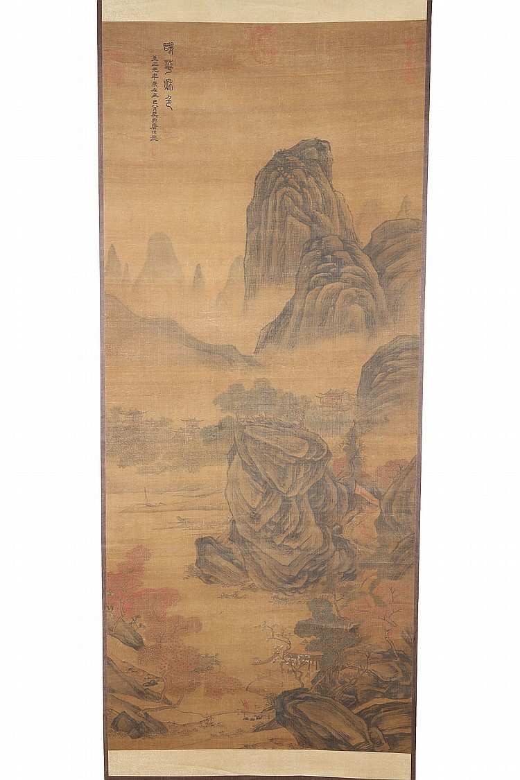 FOLLOWER OF TANG DI (1287 – 1355).   Que hua qiuse, ink and colour on paper, hanging scroll, 165 x 70cm.   ? ??(1287 – 1355) ???    ??????? ???????????????    ?????????