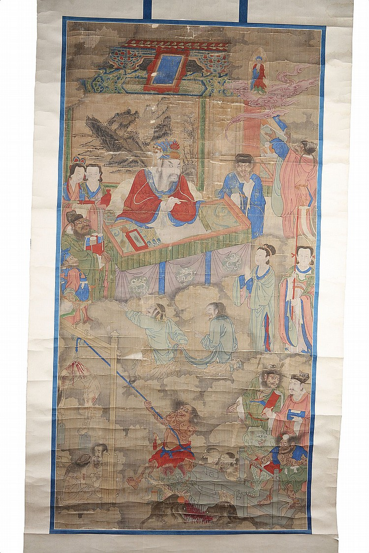 A PAINTING OF SCENES FROM HELL.   Ming Dynasty or later.   Painted to depict a scene from one of the ten courts of Hell, where presiding judges mete out punishments to souls for crimes committed during their earthly lives, ink and color on paper, framed and glazed, 135 x 70cm.   ???? ?????