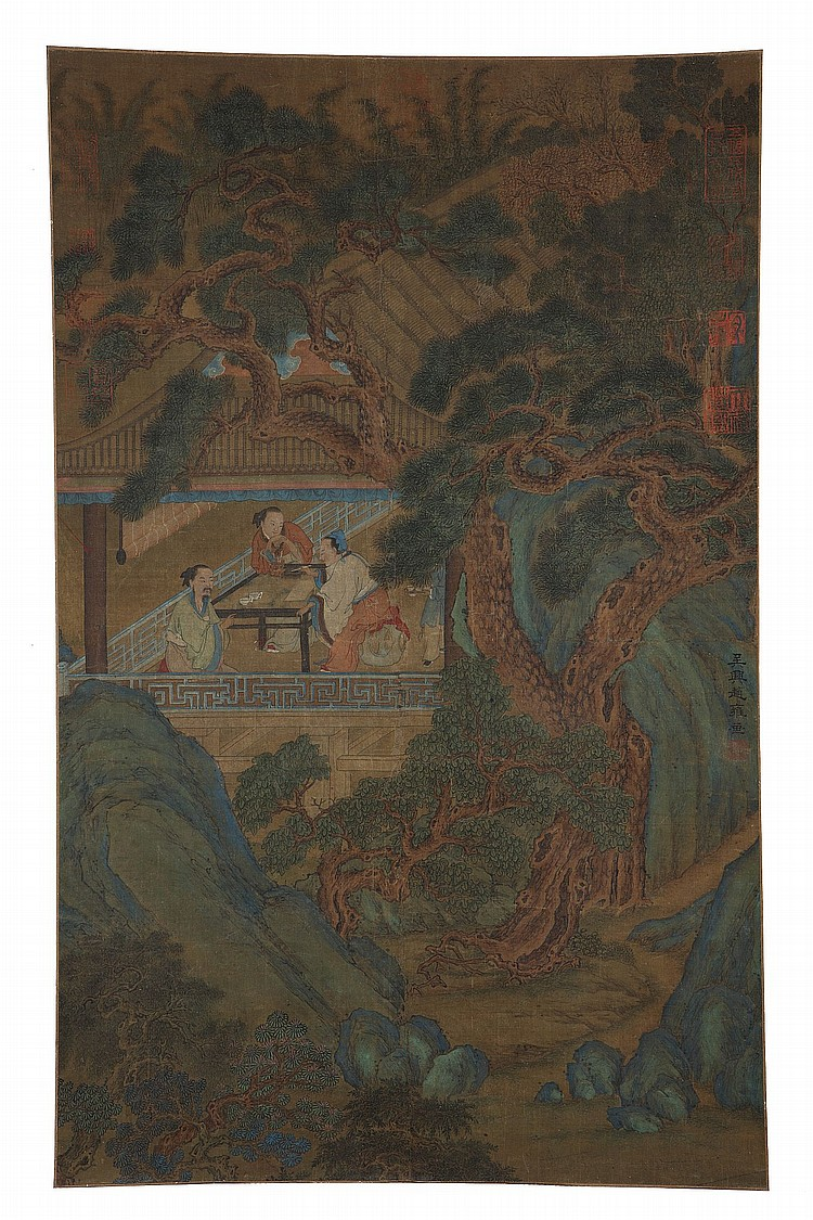 FOLLOWER OF ZHAO YONG (1289 – 1360).   Ink and colour on paper, scroll mounted, 73 x 45cm.   ? ??(1289 – 1360)  ?????   ????????    ??????????????????????????????????????????????