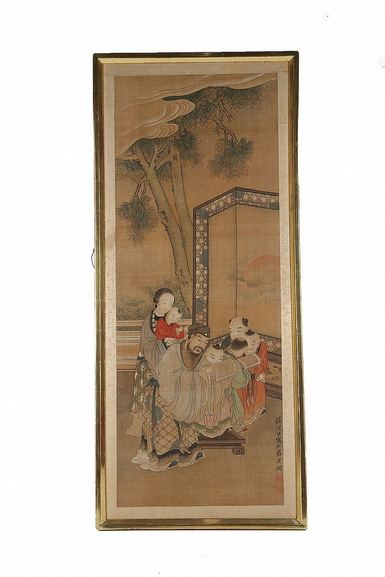 FOLLOWER OF SU HANCHEN (circa 1131 – 1170). Ink and colour on paper, framed, 108 x 41cm. ? ???(1131 – 1170) ????? ??? ???????? ?????????