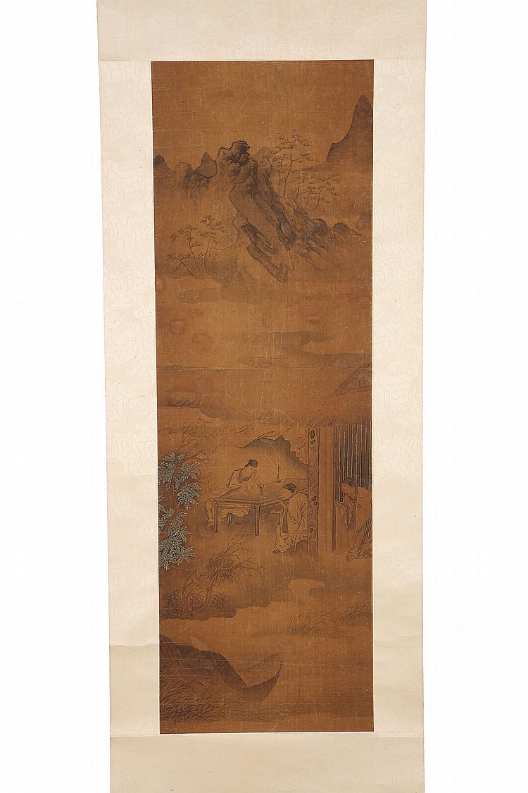 CHINESE SCHOOL.   Ming Dynasty, or later.   Ink and colour on paper, scroll mounted, 76 x 26cm   ???
