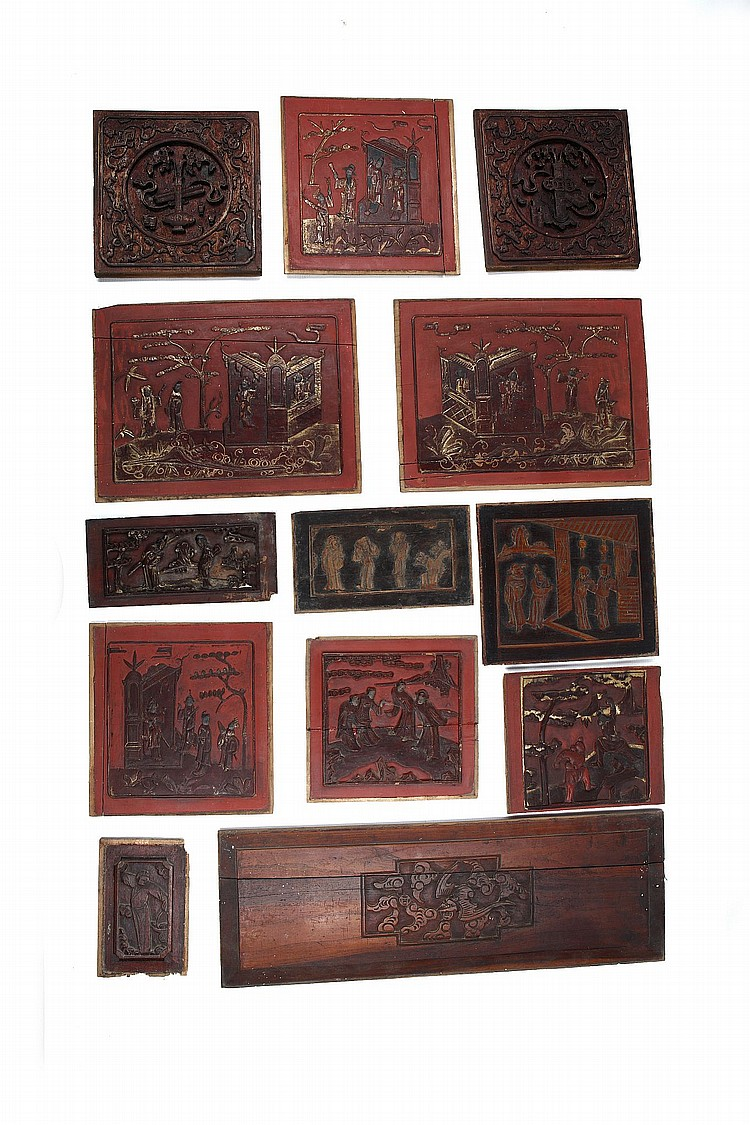 A LARGE COLLECTION OF CHINESE INCISED WOOD ARCHITECTURAL PANELS. Qing Dynasty. (130) ? ????????