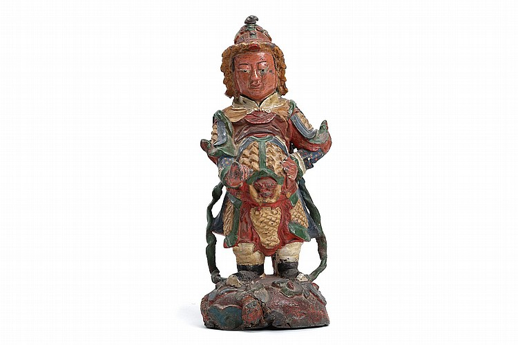 A CHINESE POLYCHROME PAINTED LEAD STANDING FIGURE OF GUANGMU. Probably Ming Dynasty. Standing dressed in armour, on a domed base above a dragon, 40cm H. ???? ??????