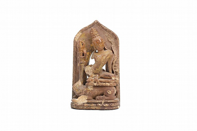 AN INDIAN MINIATURE STONE CARVING OF SIMHANADA LOKESHVARA. Nalanda, East India, circa 12th Century.  9cm H. Provenance: Collection of P.H. (1926 – 2016).