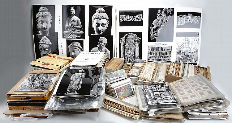 THE ARCHIVE OF FRANCES RICE MORTIMER (1913 – 2007).   Consisting of photographic prints, negatives and personal notes, much of it relating to her work with the Kabul Museum, including manuscripts and maquettes for books including Art in Afghanistan: Objects from the Kabul Museum, London, Penguin, 1971, much of the material apparently unpublished. (Qty)