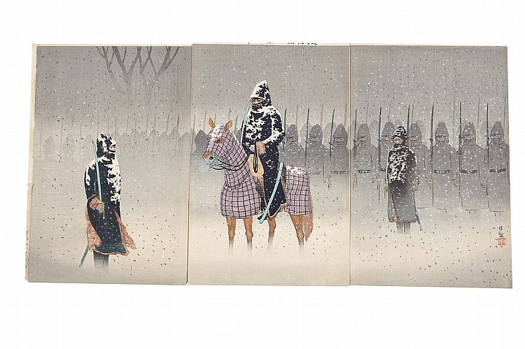A COLLECTION OF WAR PROPAGANDA WOOD BLOCK PRINTS BY KIYOCHIKA.   19th Century.   Fourteen Oban tate-e triptychs, senso-e, of the first Sino-Japanese War (Japan-Qing war) (1894-1895) including Search Light at Pyong Yang dated Meiji 27 (1894), and Attack on Enemy's Camp at Chiuren Castle at Rainy Night, dated 1894, all signed Kiyochika except one. (14 sets)   ?????????????14?