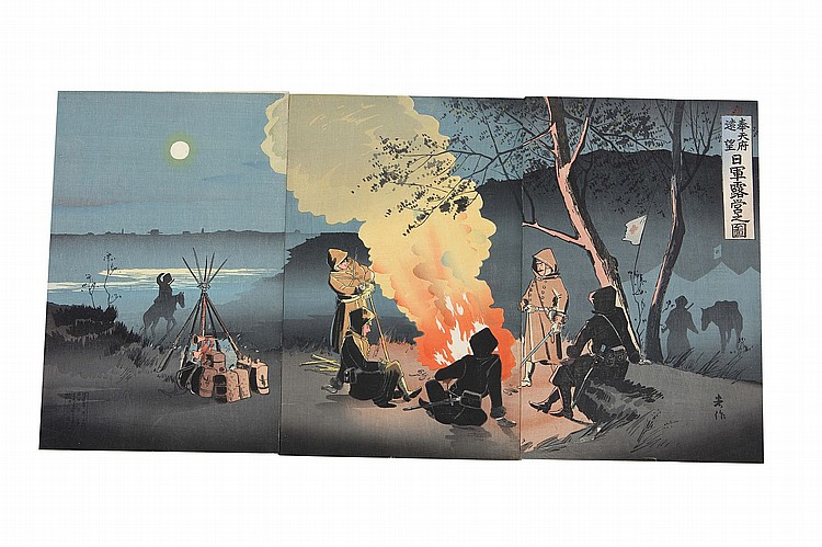 19th Century.    Fourry-five, oban tete-e,  senso-e by various artists including Gekko, Koitsu, Toshihide, Chikanobu, Ginko, Nagatoshi, Gessan, Beisaku and Kokunimasa, mostly published in Meiji 27 (1894), very good impression and colour. (45 sets)   ?????????????????????????????45?