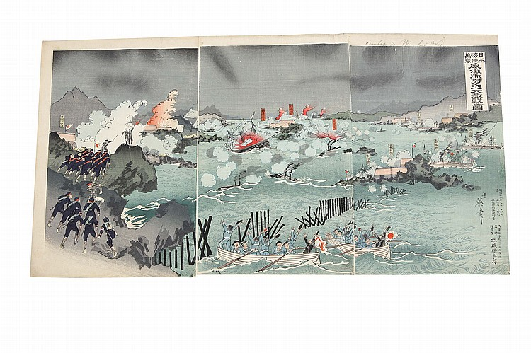 A QUANTITY OF WAR PROPAGANDA WOOD BLOCK PRINTS. 19th Century. Fifty-two oban triptychs by various artists including Toshikata, Nobukazuk Gekko and Beisaku, senso-e of Sino-Japanese war, mostly of the battle of Pyongyang in Korea which took place on 15 September 1894 between the forces of Meiji Japan and Qing China. Published Meiji 27 (1894), good impression and colour. (52 set) ??????????????????????????