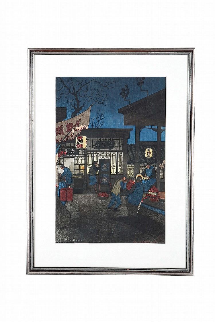 THREE WOOD BLOCK PRINTS BY ELIZABETH KEITH.    20th Century.    Entitled Night scene, Peking dated 1922, depicting food stands at night; another print of a street scene with food vendors, untitled, dated 1924; and Lamia Temple Peking dated 1922, all with pencil signature, framed and glazed, 58.5 x 36cm / 56 x 43 cm and 37 x 48cm with frames. (3).    ???????????????
