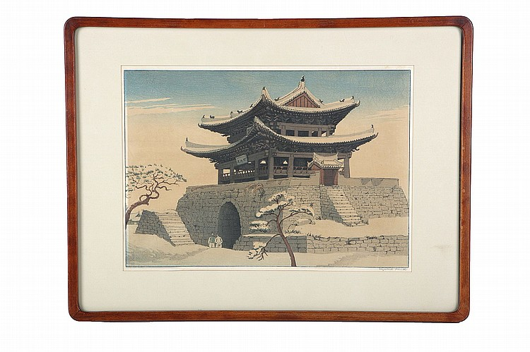 THREE WOOD BLOCK PRINTS BY ELIZABETH KEITH (1887 – 1956).   20th Century.   A large print showing a snow covered temple gate in Korea, undated, signed in pencil in the bottom margin; another print with a temple gate on a cliff over-looking the river with a boat, signed in pencil; a landscape shape print depicting a farmer with his horses in the country, signed in pencil, framed and glazed, the largest 48 x 64cm. (3)   ????????????????