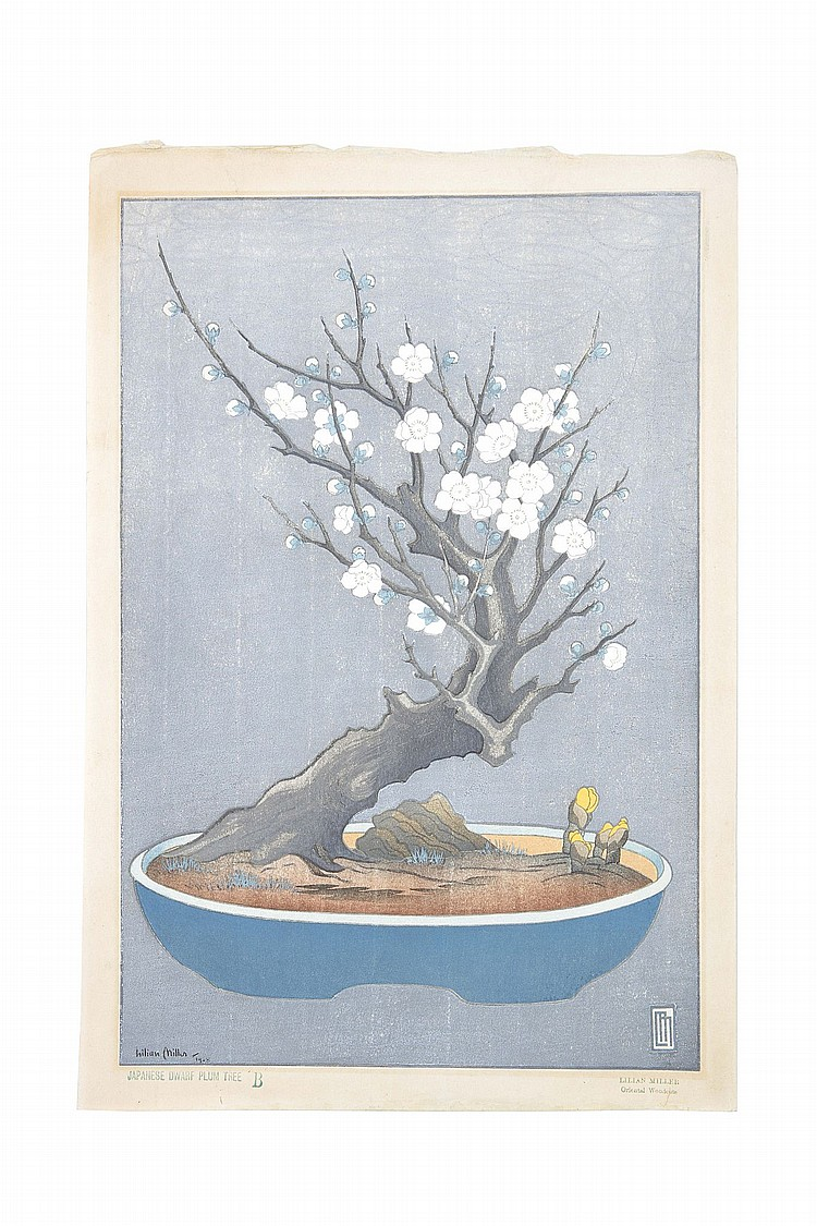 20th century. Three wood-block prints, the first entitled Japanese dwarf plum tree B showing a white bonsai plum tree with white flowers against a grey background, signed dated 1928, with a seal; the second, oban yoko-e, showing snow-covered temple roofs, without signature and the title, with a seal; and the third, a small print of garden lanterns at night, inscribed in the margin For Miss Ball – with best thanks and signed in ink, 39.5 x 27cm, 26.7 x 36cm and 19 x 10.5cm respectively. (3) ??????????????