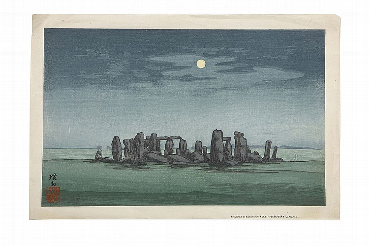 A WOODBLOCK PRINT BY URUSHIBARA, TOGETHER WITH OTHER PRINTS.   20th Century.   Oban yoko-e, wood block print by Mokuchu Urushibara (1888-1953), Stonehenge at Night, published by Ken Hoshino & Co, together with and seven Meiji colour prints for advertisement of shops selling tea, kimono, paints, and lamps. (8)   ???????????????   Born in Tokyo, Urushibara travelled to London in 1908 as a part of the group of craftsmen who exhibited at the Anglo-Japanese Exhibition. Following the exhibition, he remained in London where he was employed by the British Museum and collaborated with English and French artists including Sir Frank Brangwyn, till his departure for Japan in 1940.