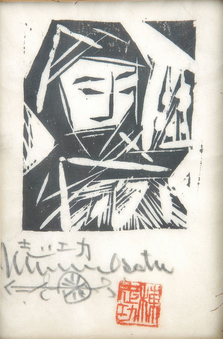 A SMALL PRINT BY MUNAKATA. 20th Century. A wood-block print in ink, a bust-portrait of a girl wearing zukin covering her head and mouth, signed in pencil Shiko Munakata with a red seal, framed and glazed, 13 x 9 cm. ????????