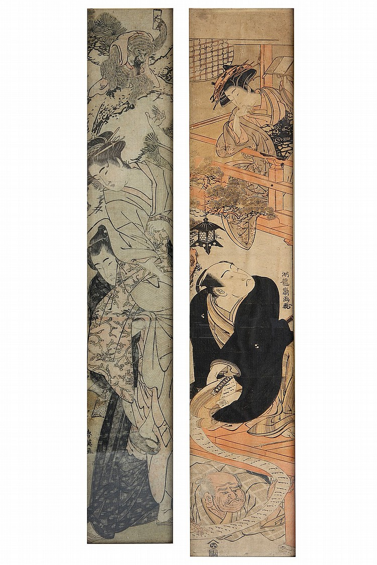 TWO HASHIRA-E PRINTS. 18th Century. The first by Isoda Koryusai, a parody of the most famous scene from the kabuki play Chushingura depicting a man unrolling a long letter whilst another man hiding under the floor reading the end of the letter; the second by Katsukawa Shun'ei, depicting a young man helping a girl climb up a tree so that she can retrieve a letter from a monkey, 71 x 15cm / 69.5 x 13 cm with frames. (2) ???????????