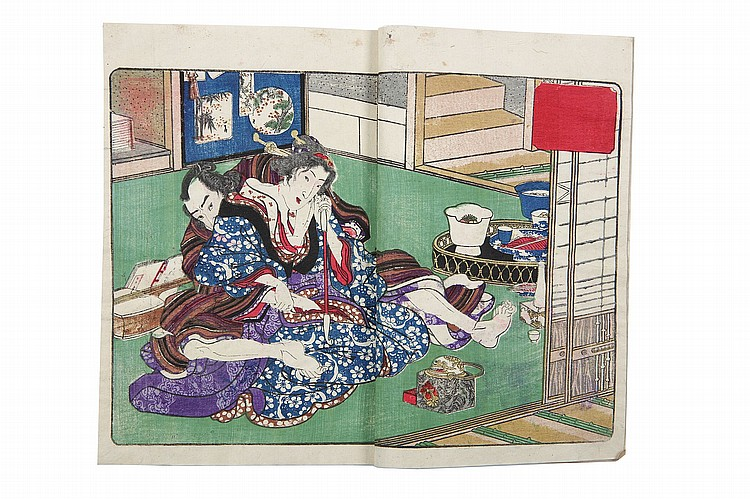 THREE VOLUMES OF SHUNGA BOOKS.   19th Century.   The frontispiece given the title, Kari makura ukina no adanami, (a fuss over a little nap in the floating world) by Utagawa Kunisada II (1823 – 1880), each with four double pages including double fold- out pages and one single colour illustration of erotic scenes, and 10-12 pages of text, signed Bukiyo Matabei (nom-de-plume of Kunisada II) on the screen in the picture. 23 x 15.2cm each. (3)    ???3????2?