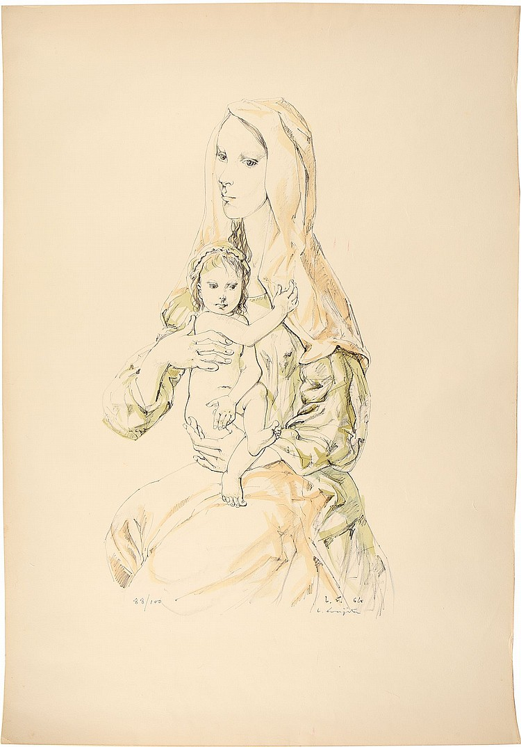 A LITHOGRAPH BY LEONARD TSUGUHARU FOUJITA.   20th Century.   Lithograph in colour, 1964 on paper, Madonna and child, signed L Foujita in pencil, no. 88/100, 49.5 x 69 cm.   Provenance: Gift of Madame Kimiyo Foujita in late 1980's, thence by descent to the present owner.   ??????????