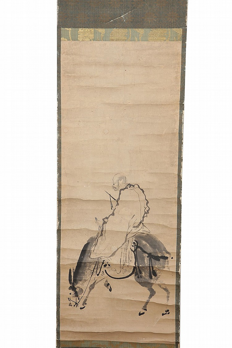 A HANGING SCROLL. Edo period. Painted in ink on paper, with a Chinese poet, Katao (Jia Dao) wearing a long robe riding a horse, unsigned, The box cover entitled the painting of Katao riding on the horse, the inscription of the underside of the cover reads I thought this painting was from Sessu school when I first saw it. The exquisite and delicate use of brush and ink are very close to the style of paintings from Song and Yuan artists, therefore I recognise this painting was by a famous artist. I enjoyed looking at this painting so I sign and write the inscription. A winter day in the eighteenth year of Meiji (1885) Kokoku Denshuku, with two red seals, 80.5 x 31.5cm ???????????