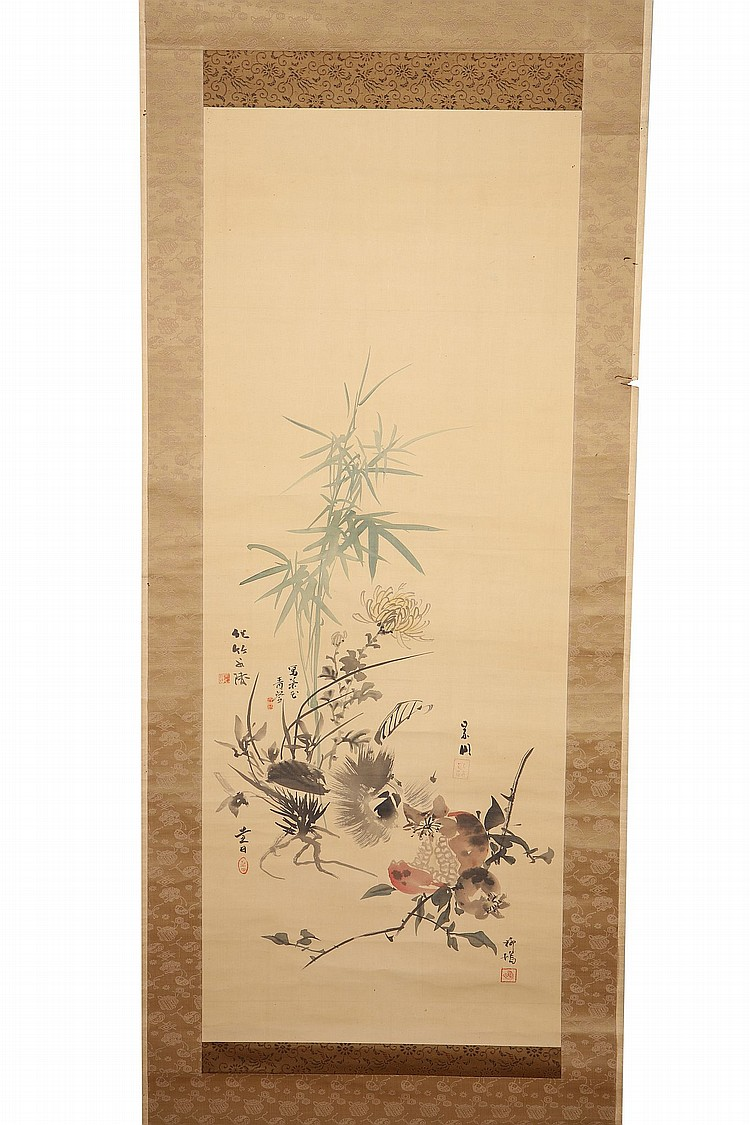 TWO HANGING SCROLLS. 19th / 20th Century. The first, a collaborative work by Shijo school artists, painted in ink and colour on silk, depicting a floral arrangement of bamboo, chrysanthemum, orchids, pomegranate, a chestnut with its shell and a kaki fruits, signed by five different artists, 194 by 55cm, with fitted wooden box; the other painting possibly a part of a screen, depicting a goose amongst rocks, 117 x 50 cm. (2) ????? ???????????2?