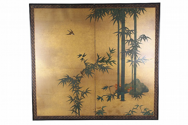 PAIR OF TWO-FOLD PAINTED SCREENS. 19th / 20th Century. Both painted in ink, colour and gofun on paper, one screen depicting bamboos and sparrows against gold flake background; the other boldly painted with Sho Chiku Bai, three auspicious things' a pine, bamboo and plum blossoms beside stylised rocks against gold background, each 170.5 x 186cm. (2) ??????????