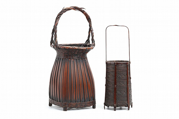 TWO BAMBOO BASKETS. 20th Century. The first of hexagonal shape body with a tall narrow handle, signed Chikuho, 34cm H,  the second hanakago woven with split flat bamboo, with a twisted handle, unsigned, 42cm H. (2) ????????????