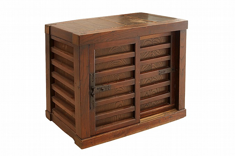 A GOOD KEYAKI TANSU. 20th century. Formed as a Choba-dansu (Ledge chest), in Keyaki (zelcova) wood, with two sliding drawers, the interior with one shelf and a small drawer. 74.5 x 94 x 47.5cm ?????????