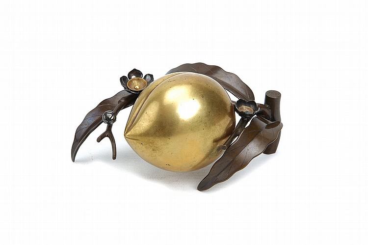 A FINE MIXED-METAL OKIMONO OF A PEACH. 19th / 20th century. Separately cast in mixed metal including silver, sentoku and gilt copper forming a peach on its stem with leaves and small blossoms, 13cm long approx. with fitted wooden box. ???????
