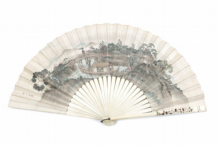 A SHIBAYAMA AND PAINTED FAN, AND TWO IVORY PAGE TURNERS. Meiji period. The ivory shibayama and painted fan finely painted one side with a pleasure boat on the river signed Kunihisa, herons and a lotus flower filled pond on the reverse; an ivory page turners decorated in gold lacquer with nightingale on plum tree, and another page turner decorated with dragonflies and peonies, the open fan 38cm x 70cm. (3) ????????????