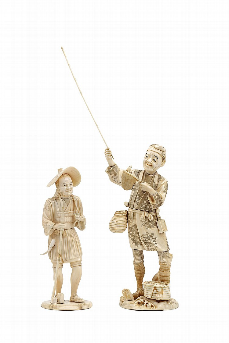 TWO IVORY FIGURES.   19th / 20th century.   The first a sectional ivory carving of a fisherman, holding up a fishing rod in one hand and a basket with fish in the other and wearing a jacket engraved with stylized fruits pattern, signed Masahide, 28cm H without the rod; the second a farmer wearing a straw hat, carrying his bamboo basket on his shoulders, with a small seal mark Take, 28cm H. (2)   ???????????????????