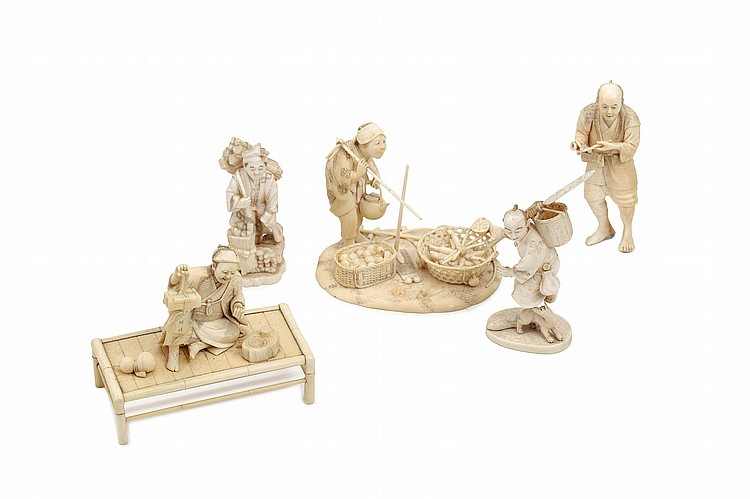 FIVE SMALL IVORY FIGURES.   19th / 20th Century.   Five variously carved ivory figures, including a farmer, a merchant, a traveller and wood-cutter, some signed, the tallest figure 10cm H.   ????????
