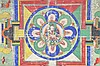 A THANGKA OF A CHAKRASAMVARA MANDALA.   19th Century.    With Chakrasamvara and Vajravarahi in embrace at centre, the painting 53.5 x 52cm.   19?? ?????