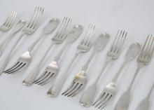 A selection of Antique Georgian and Victorian Sterling Silver forks