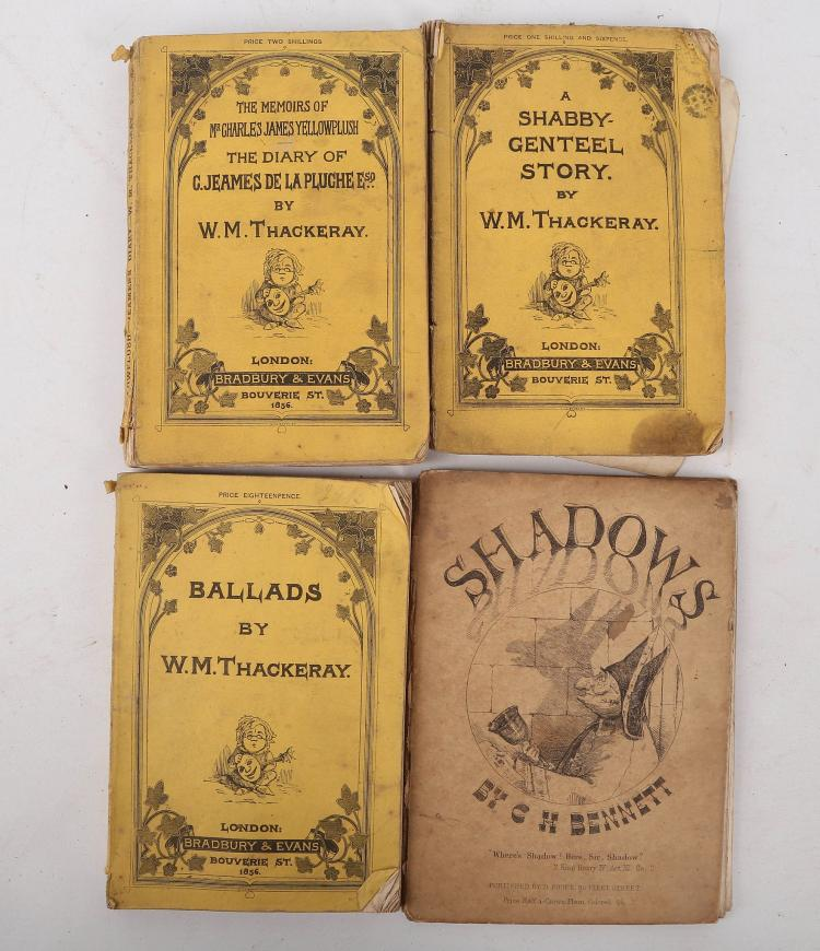 THACKERAY, W. M. (1811-1863). The memoirs of Mr Charles James Yellowplush. The diary  of G. Jeames de la Pluche Esq. London: Bradbury & Evans, 1856. 8vo. (Occasional light spotting). Original yellow illustrated wrappers  (chipped with some loss to spine, lightly browned and spotted). FIRST EDITION. With a small collection  of works with related interest. Including 6 instalments  of  Mrs. Alfred GATTY's  Aunt Judy's Magazine. London: George Bell & Sons, [1873-74]. 8vo. (occasional light spotting). Original light blue illustrated wrappers (chipped with minor loss to spine, lightly browned, stained and spotted) and Frederick Gustavus BURNABY's  A ride across the channel and other adventures in the air, London: Sampson Low, Marston, Searle and Rivington , 1882. 8vo.  (Lacking all before pp. 7-128, including title-page,  (light spotting). FIRST and ONLY EDITION. British army intelligence officer and a legendary Victorian hero. He travelled across Europe and Asia, mastering the art of ballooning. Sold not subject to return. (11)