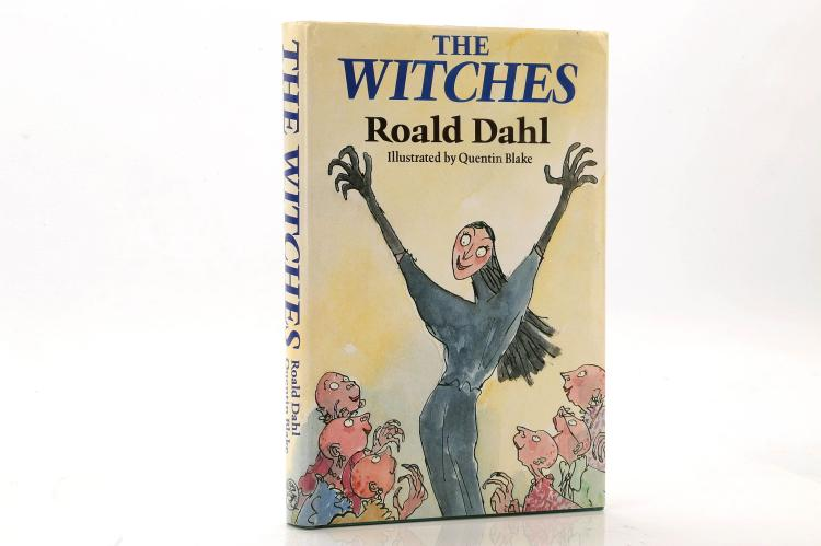 DAHL, Roald (1916-90). The Witches. London: Jonathan Cape, 1983. 8vo. Original green/blue cloth with yellow pictorial dust-jacket (lightly chipped). SIGNED by Roald Dahl and dedicated to 'Jan' also SIGNED by Felicity (Liccy) Dahl who has crossed out the on the printed dedication 'For Liccy' and inscribed 'Love from Liccy'. FIRST EDITION.