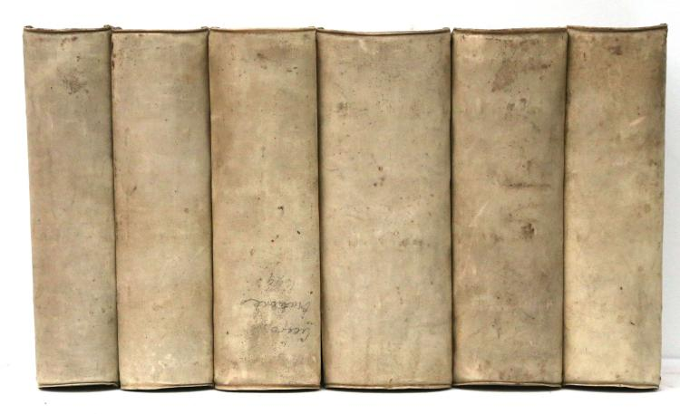 CICERO, Marcus Tullius (106BC - 43BC). Orationes Ex recensione Ioannis Georgii Graevii. Amsterdam: Ioannis Blaeu, [1695-99]. 3 volumes of 2 parts each, 8vo. Roman and Italic letter, printed notes in double columns below; printer's woodcut device on title-pages representing an armillary sphere, foliated initials and decorative tailpieces, 1 full page plate in good impression (Light age yellowing, occasional spotting or staining, some light browning). Contemporary vellum over boards, edges sprinkled red (slightly soiled). A distinguished edition of one of the most widely read works throughout the history of Europe, edited by the German scholar Johann Georg Graevius (1632-1703), including Graevius' dedicatory epistle to the Prince Ludovico Ludovisi, Duke of Burgundy, recalling the glory of the Holy Roman Empire and the models of ancient eloquence; a preface to the reader with an overview featuring the work and his contributors; notes by Paolo Manuzio, Carlo Sigonio and others. Shelf marks in early hand to verso of front free endpapers. FIRST EDITION. SCARCE.  (6).