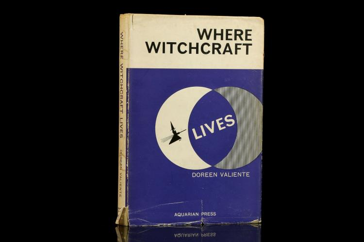 VALIENTE, Doreen (1922-99). Where Witchcraft. London: The Aquarian Press, 1962. 8vo. (Occasional light spotting). Purple and white pictorial dust-jacket (chipped and lightly creased). FIRST EDITION. Valiente an author and poet published five works  dealing with Wicca and related esoteric subjects.
