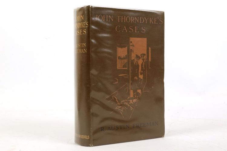 FREEMAN, R. Austin (editor). John Thorndyke's Cases. London: Chatto & Windus, 1909. 8vo. Monochrome photographed frontispiece, 14 plates and illustrations (occasional light spotting). Original pictorial cloth (light rubbing). Provenance: H. E. Heseltine (signature). FIRST EDITION.