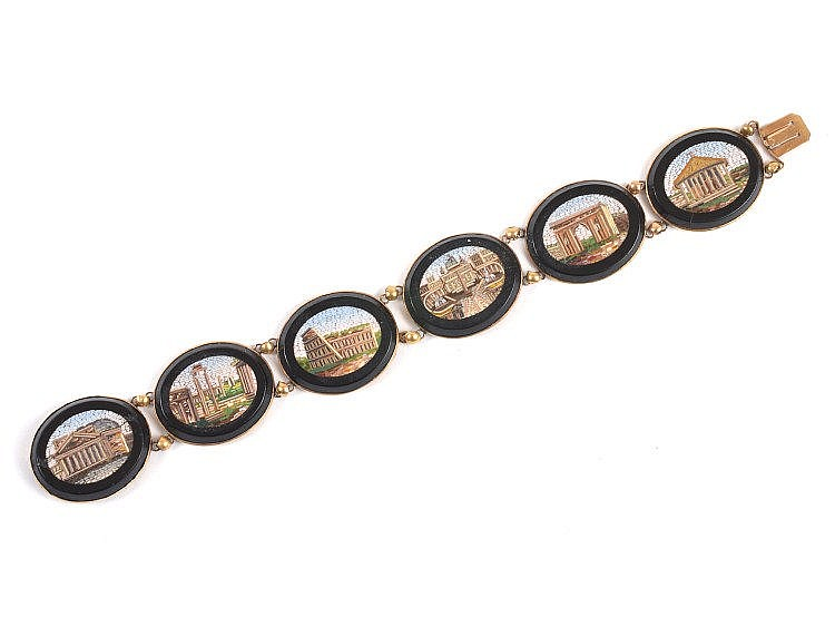 A Victorian micro-mosaic panel bracelet, each oval