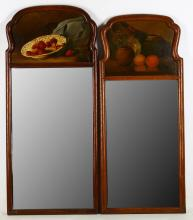 A near pair of walnut Trumeau wall mirrors, in 18th century style,each painted with a still life of fruit, over rectangular bevelled plates, the largest 81cm high (2)