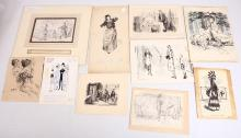 An interesting selection of original pen and ink cartoons and illustrations, by artists including: John Bernard Partridge, Nicolas Bentley, Leonard Raven-Hill, George Denholm Armour, Lewis Baumer, Arthur Houghton, John Leech, John Hassall, and a work attributed to Halbot Knight Browne, better known as 'Phiz', an illustrator for Charles Dickens, mostly mounted, various sizes (10)
