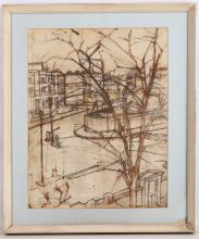 Christopher Chamberlain (British, 1918-1984), mid-20th Century, pencil and crayon on paper, a view of the corner of Ifield Road & Redcliffe Gardens, signed and dated 1957, and inscribed 'with love to Kitty + Ted Xmas 1957' in pencil, 64 x 53.5cm including frame