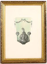 John William Wadsworth (1879-1955), design for an enamelled hand mirror back, watercolour and pencil, 14 x 10cm, framed   FOOTNOTES: Wadsworth designed 'Secessionist' wares at Minton and for Royal Worcester.