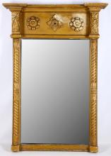 A Regency giltwood and gesso pier glass, early 19th Century, with a rosette frieze over spiral columns, 82cm high