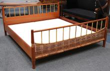 Josef Frank for Svenskt Tenn, Sweden, a mahogany double bed, with bamboo and wickerwork, 210 x 187.5 x 84cm max hight