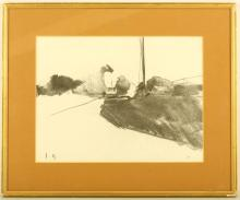 John Hersey, 20th Century, landscape, signed with initials and dated, '19, charcoal, 26.5 x 35.5 cm, framed and glazed    PROVENANCE: With Thos. Agnews & Sons Ltd.