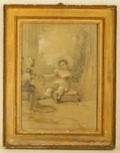 English School, circa 1830, 'My son Arthur', indistinctly signed and dated 1830 l.r. and further inscribed on the original backboard 'My son Arthur, 1830', pencil heightened with white and red chalk, 37.2 x 26.7cm