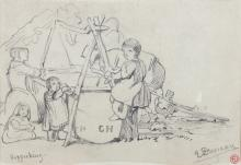 Edward Duncan (1803-1882), hop picking, signed and bearing artist's studio stamp, pencil, 12.3 x 18cm; together with three further pencil drawings by the same hand all bearing artist's studio stamp, all unframed(4)